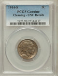 Buffalo Nickels, 1914-S 5C -- Cleaning -- PCGS Genuine. UNC Details. NGC Census:(2/993). PCGS Population (6/1121). Mintage: 3,470,000. Numi...