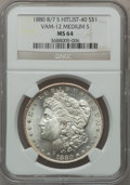 Morgan Dollars, 1880 8/7-S $1 Vam-12, Medium S MS64 NGC. Hitlist-40. NGC Census:(0/0). PCGS Population (315/235).. From The Parcfeld Co...