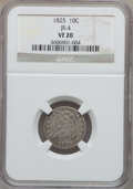 Bust Dimes: , 1825 10C VF20 NGC. JR-4. NGC Census: (2/90). PCGS Population(5/88). Mintage: 410,000. Numismedia Wsl. Price for problem f...