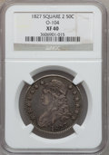 Bust Half Dollars, 1827 50C Square Base 2 XF40 NGC. O-104. NGC Census: (96/1818). PCGSPopulation (178/1544). Mintage: 5,493,400. Numismedia W...