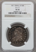 Bust Half Dollars: , 1811 50C Small 8 VF35 NGC. O-111. NGC Census: (26/807). PCGSPopulation (20/317). Mintage: 1,203,644. Numismedia Wsl. Pric...