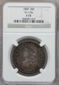 Bust Half Dollars: , 1809 50C Normal Edge Fine 15 NGC. O-115a. NGC Census: (6/740). PCGSPopulation (34/603). Mintage: 1,405,810. Numismedia Ws...
