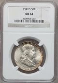 Franklin Half Dollars: , 1949-S 50C MS64 NGC. NGC Census: (855/1238). PCGS Population(1840/1696). Mintage: 3,744,000. Numismedia Wsl. Price for pro...