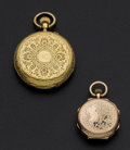 Timepieces:Pocket (post 1900), Two Swiss Pocket Watches One is 18k Gold Hunter's Case & One Is14k Gold. ... (Total: 2 Items)