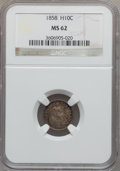Seated Half Dimes, 1858 H10C MS62 NGC. NGC Census: (60/470). PCGS Population (48/368).Mintage: 3,500,000. Numismedia Wsl. Price for problem f...