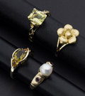 Estate Jewelry:Rings, Multi-stone and Gold Ring Lot. ... (Total: 4 Items)