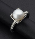Estate Jewelry:Rings, Cultured Pearl and White Gold Ring. ...