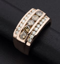 Estate Jewelry:Rings, Light Brown and White Diamond Pink Gold Ring. ...