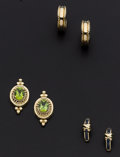 Estate Jewelry:Earrings, Synthetic Sapphire, Peridot and Gold Earring Lot. ... (Total: 3Items)