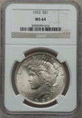 Peace Dollars: , 1923 $1 MS64 NGC. NGC Census: (132145/37512). PCGS Population(75627/16879). Mintage: 30,800,000. Numismedia Wsl. Price for...