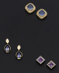 Estate Jewelry:Earrings, Multi-Stone and Gold Earring Lot. ... (Total: 3 Items)