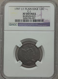 Half Cents, 1797 1/2 C 1 Above 1, Plain Edge -- Burnished -- NGC Details. XF.C-1, B-1, R.2....