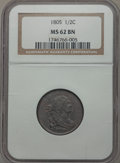 Half Cents, 1805 1/2 C Small 5, No Stems MS62 Brown NGC. C-1, B-1, R.1....