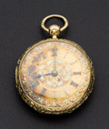 Timepieces:Pocket (pre 1900) , John Moncus Liverpool 18k Lever Fusee Fancy Dial Altered Back CaseLid. ...