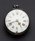 Timepieces:Pocket (pre 1900) , Jaquier London 17th Century Clock Watch Movement, Inner Case WithBell For Restoration. ...