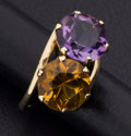 Estate Jewelry:Rings, Amethyst, Citrine, Gold Ring. ...