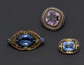Estate Jewelry:Brooches - Pins, Amethyst, Blue Glass, Silver, Gold, Metal Brooches. ... (Total: 3Items)