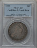 Bust Half Dollars, 1820 50C Curl Base 2, Small Date Fine 15 PCGS. PCGS Population(3/191). NGC Census: (3/1668). Mintage: 751,122. Numismedia ...
