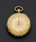 Timepieces:Pocket (pre 1900) , Swiss 18k Gold 41 mm Lever Fusee. ...