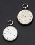 Timepieces:Pocket (pre 1900) , Swiss Silver Lever Fusee & Cylinder Key Wind Pocket Watches.... (Total: 2 Items)