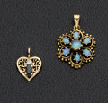 Estate Jewelry:Pendants and Lockets, Sapphire, Diamond, Opal, Gold Pendants. ... (Total: 2 Items)