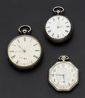 Timepieces:Pocket (pre 1900) , Waltham & Swiss Lever Fusee & Key Wind Pocket Watches. ...(Total: 3 Items)