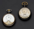 Timepieces:Pocket (post 1900), Two 8-Day Exposed Balance Wheel Pocket Watches. ... (Total: 2Items)