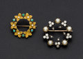 Estate Jewelry:Brooches - Pins, Turquoise, Cultured Pearl, Diamond Silver, Gold Vintage Brooches. ... (Total: 2 Items)