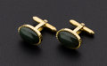 Estate Jewelry:Cufflinks, Nephrite Jade, Gold Cufflinks. ...