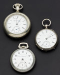 Timepieces:Pocket (post 1900), Hamilton & Two Elgin Pocket Watches. ... (Total: 3 Items)