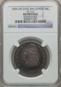 Bust Half Dollars, 1834 50C Small Date, Small letters -- Scratches -- NGC Details. AU.O-112. M...