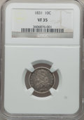 Bust Dimes, 1831 10C VF35 NGC. NGC Census: (9/280). PCGS Population (11/290).Mintage: 771,350. Numismedia Wsl. Price for problem free ...