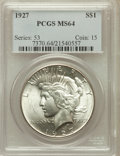 Peace Dollars: , 1927 $1 MS64 PCGS. PCGS Population (1708/294). NGC Census:(973/122). Mintage: 848,000. Numismedia Wsl. Price for problem f...