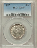 Barber Quarters: , 1897 25C AU55 PCGS. PCGS Population (22/226). NGC Census: (3/215).Mintage: 8,140,731. Numismedia Wsl. Price for problem fr...