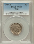 Buffalo Nickels: , 1937-D 5C Three-Legged AU53 PCGS. PCGS Population (376/2544). NGCCensus: (252/3547). Mintage: 17,826,000. Numismedia Wsl. ...