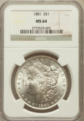 Morgan Dollars: , 1881 $1 MS64 NGC. NGC Census: (3945/681). PCGS Population(4023/1037). Mintage: 9,163,975. Numismedia Wsl. Price forproble...
