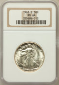 Walking Liberty Half Dollars: , 1943-D 50C MS64 NGC. NGC Census: (997/3389). PCGS Population(1835/4868). Mintage: 11,346,000. Numismedia Wsl. Price for pr...