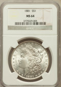Morgan Dollars: , 1881 $1 MS64 NGC. NGC Census: (3942/681). PCGS Population(4023/1037). Mintage: 9,163,975. Numismedia Wsl. Price forproble...