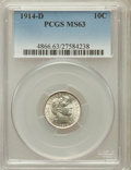 Barber Dimes: , 1914-D 10C MS63 PCGS. PCGS Population (100/182). NGC Census:(87/169). Mintage: 11,908,000. Numismedia Wsl. Price for probl...