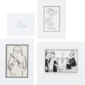 Original Comic Art:Sketches, Scott Adams, Ray Billingsly, Syd Hoff, and Robert C. Osborn -Sketch/Gag Panel Comic Strip Original Art Group of 4 (Variou...(Total: 4 Original Art)
