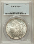 Morgan Dollars: , 1882 $1 MS64 PCGS. PCGS Population (4866/1473). NGC Census:(6311/1411). Mintage: 11,101,100. Numismedia Wsl. Price for pro...