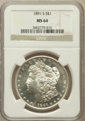 Morgan Dollars: , 1891-S $1 MS64 NGC. NGC Census: (1299/244). PCGS Population(1959/488). Mintage: 5,296,000. Numismedia Wsl. Price for probl...