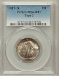 Standing Liberty Quarters: , 1917-D 25C Type Two MS63 Full Head PCGS. PCGS Population (84/196).NGC Census: (62/123). Mintage: 6,224,400. Numismedia Wsl...