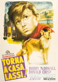 "Lassie Come Home (MGM, 1948). First Release Post-War Italian 4 - Foglio (55"" X 78"") Ercole Brini Art"