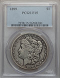 Morgan Dollars: , 1899 $1 Fine 15 PCGS. PCGS Population (19/11170). NGC Census:(14/8396). Mintage: 330,846. Numismedia Wsl. Price for proble...