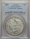 Morgan Dollars, 1880 $1 Vam-6, 8/7 Spikes XF45 PCGS. Top-100. PCGS Population (26/86). . From The Parcfeld Collection....