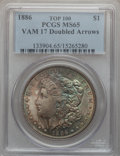 Morgan Dollars, 1886 $1 Vam-17, Doubled Arrows MS65 PCGS. Top-100. PCGS Population (25/16). . From The Parcfeld Collect...