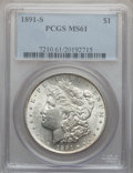 Morgan Dollars: , 1891-S $1 MS61 PCGS. PCGS Population (254/6257). NGC Census:(352/4124). Mintage: 5,296,000. Numismedia Wsl. Price for prob...