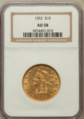 Liberty Eagles: , 1852 $10 AU58 NGC. NGC Census: (105/37). PCGS Population (13/13).Mintage: 263,106. Numismedia Wsl. Price for problem free ...