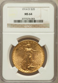 Saint-Gaudens Double Eagles: , 1914-D $20 MS64 NGC. NGC Census: (1920/588). PCGS Population(2267/1041). Mintage: 453,000. Numismedia Wsl. Price for probl...